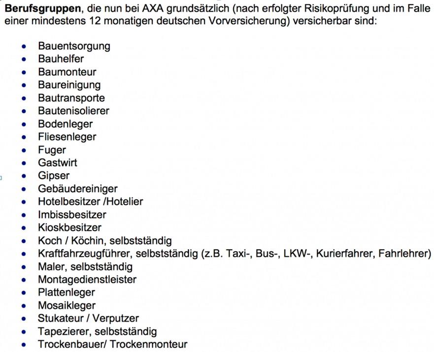 AXA2 AXA erneuert Annahmerichtlinien - bitte beachten